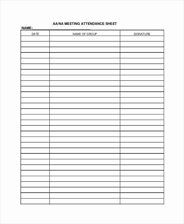 Aa Meeting attendance Sheet Beautiful 38 Sheet Samples & Templates In Pdf