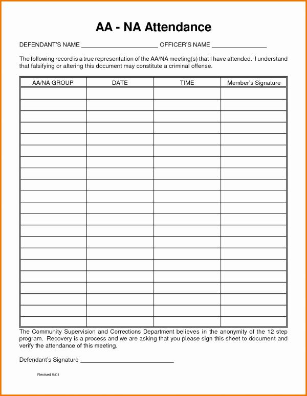 Aa Meeting attendance Sheet Best Of Aa Meeting Sheet Print