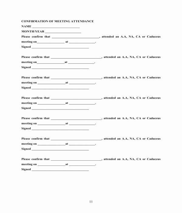 Aa Meeting attendance Sheet Best Of Free 6 Proof Of Aa attendance forms