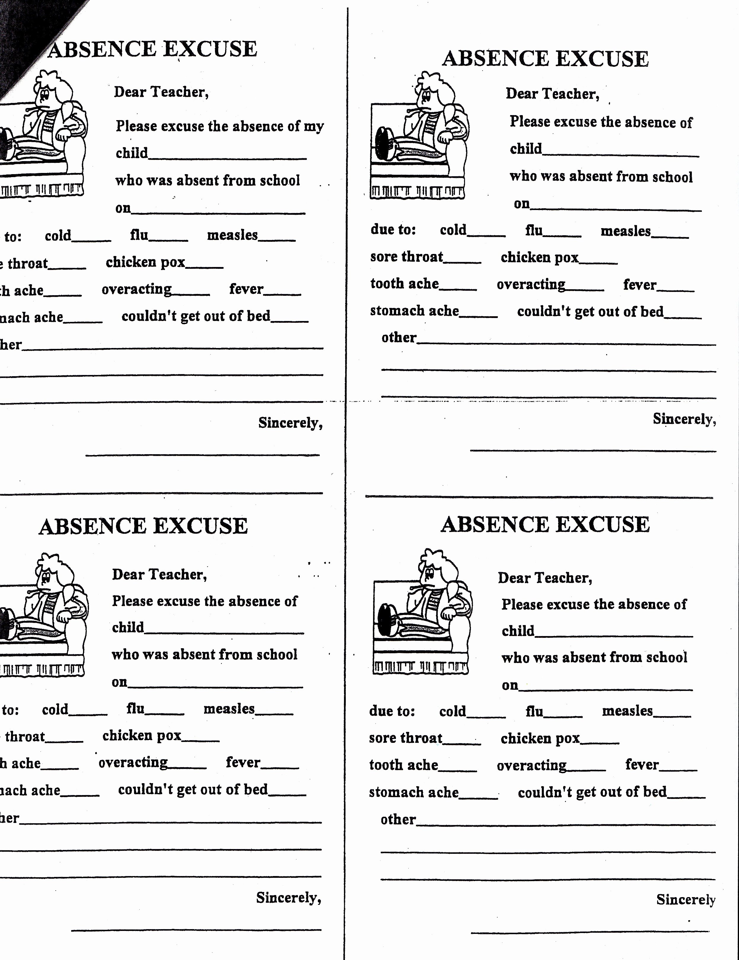 Absence Note for School Sample Awesome Carrigan Gina Absence Note Printable