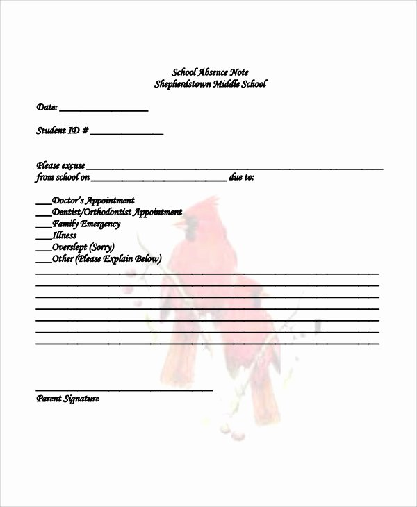 Absence Note for School Sample Fresh Absence Note Sample 11 Examples In Word Pdf