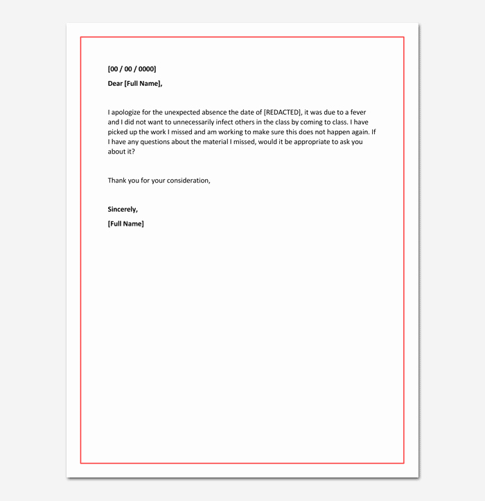 Absence Note for School Sample Lovely Apology Letter for Absence From School Due to Illness