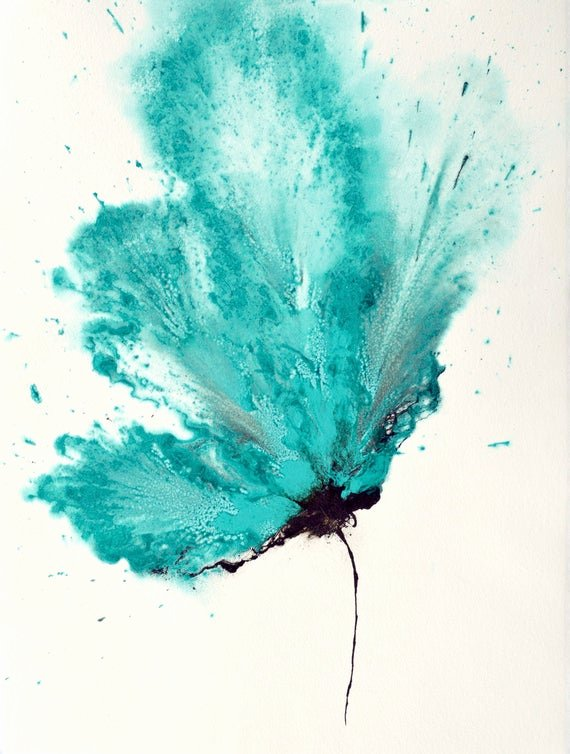 Abstract Pictures Of Flowers Fresh Art Abstract Flower Painting Teal Blue 18 X 24 original Wall