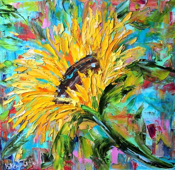 Abstract Pictures Of Flowers Fresh original Oil Painting Sunflower Abstract Palette Knife