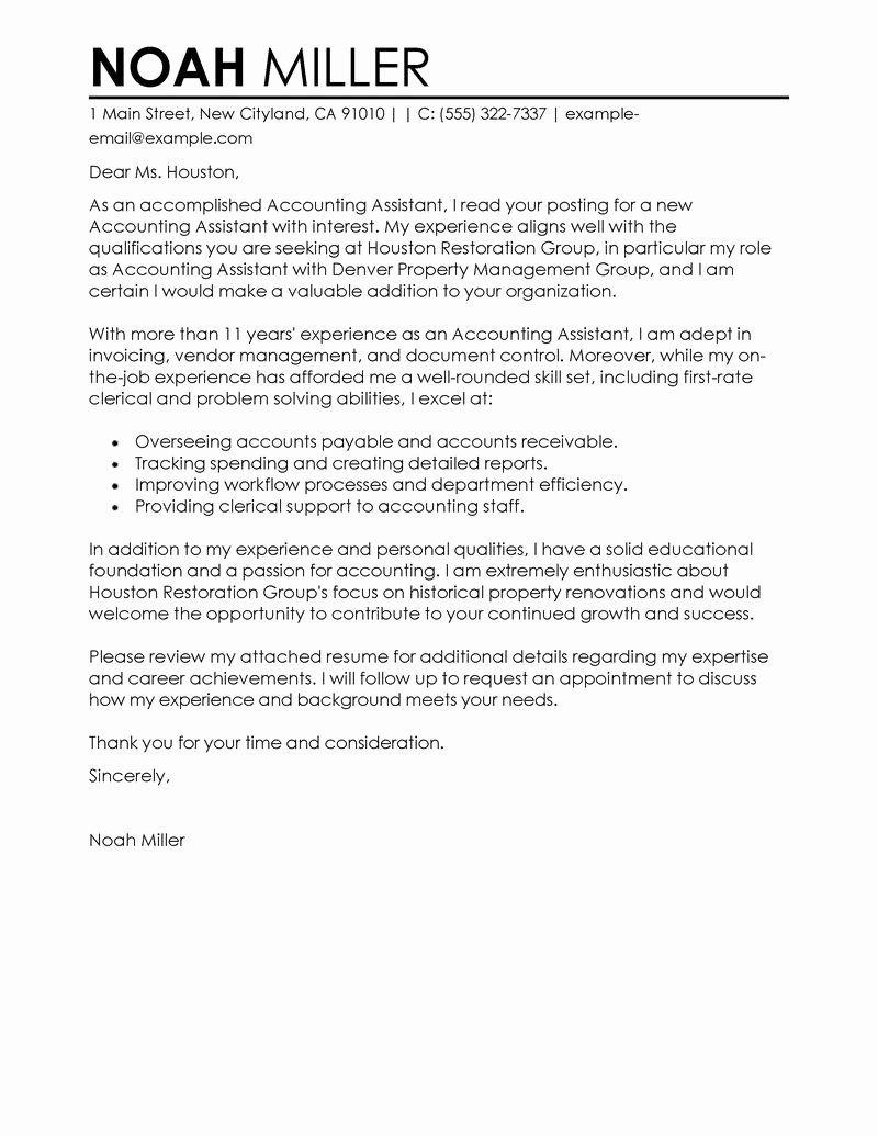 Accountant Cover Letter Sample Fresh Best Accounting assistant Cover Letter Examples
