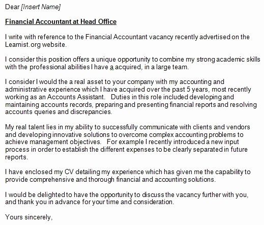 Accountant Cover Letter Sample New Accountant Cover Letter Example for Job Applications
