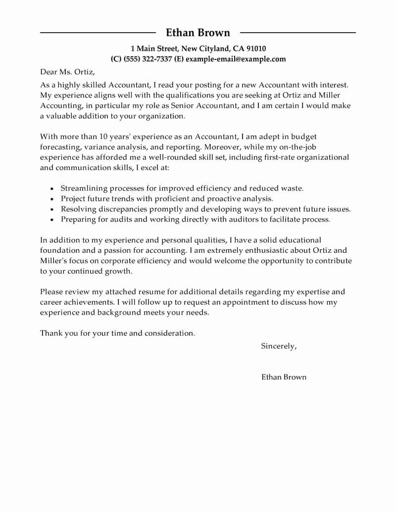 Accountant Cover Letter Sample Unique Best Accountant Cover Letter Examples
