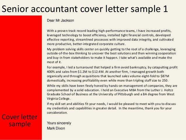 Accountant Covering Letter Sample Lovely Senior Accountant Cover Letter