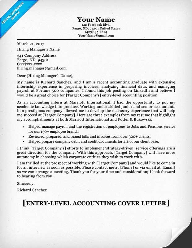 Accountant Covering Letter Sample New Entry Level Accounting Cover Letter & Tips