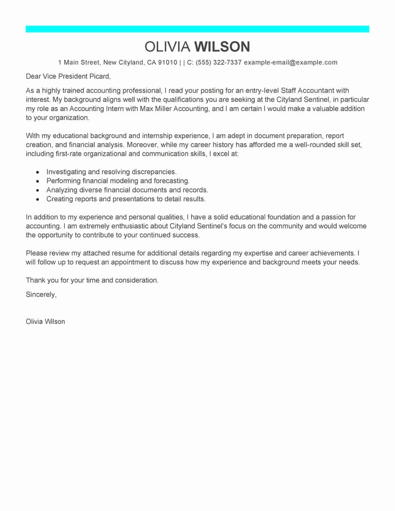 Accountant Covering Letter Sample Unique Free Staff Accountant Cover Letter Examples & Templates