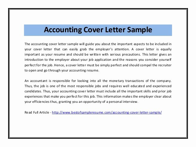Accounting Cover Letter Samples Best Of Accounting Cover Letter Sample Pdf