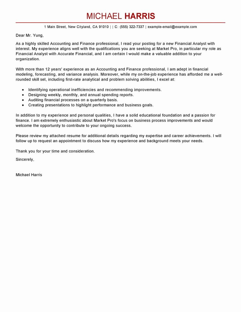 Accounting Cover Letter Samples Elegant Best Accounting & Finance Cover Letter Examples