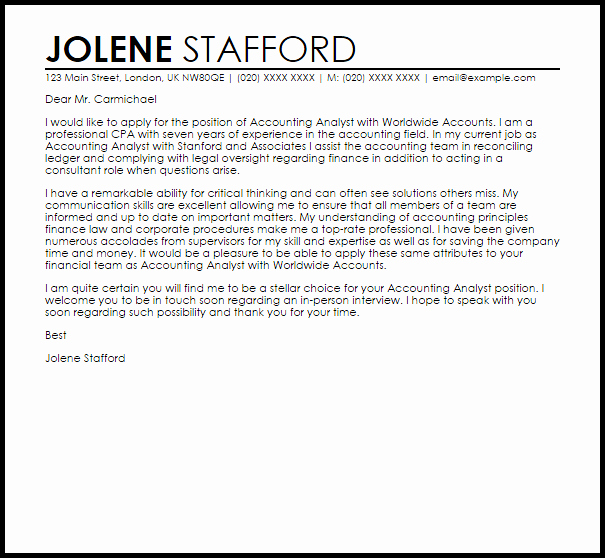 Accounting Cover Letter Samples Lovely Accounting Analyst Cover Letter Sample