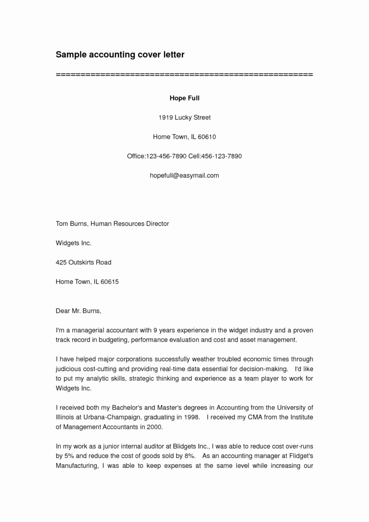 Accounting Cover Letter Samples Lovely Free Cover Letter for Accounting Position Insure