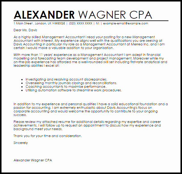 Accounting Cover Letter Samples Unique Management Accountant Cover Letter Sample
