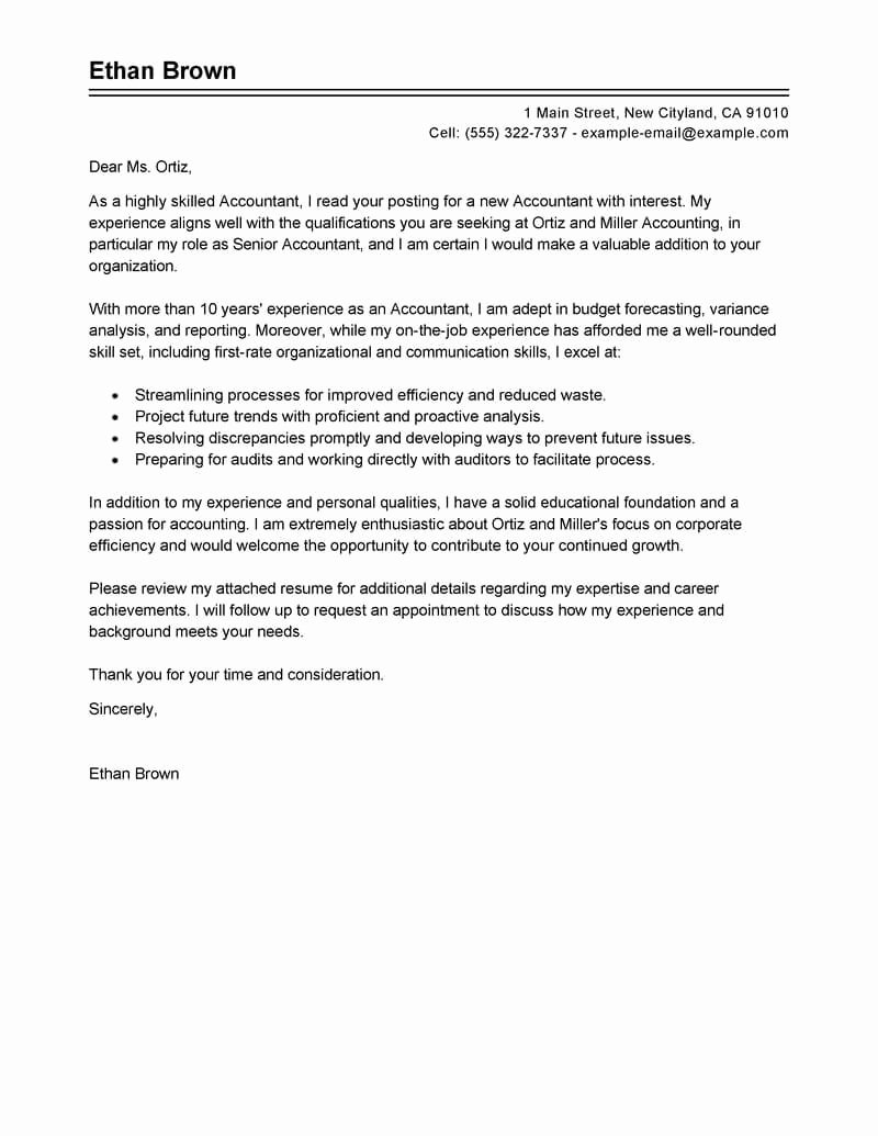 Accounting Covering Letter Sample Inspirational Best Accountant Cover Letter Examples
