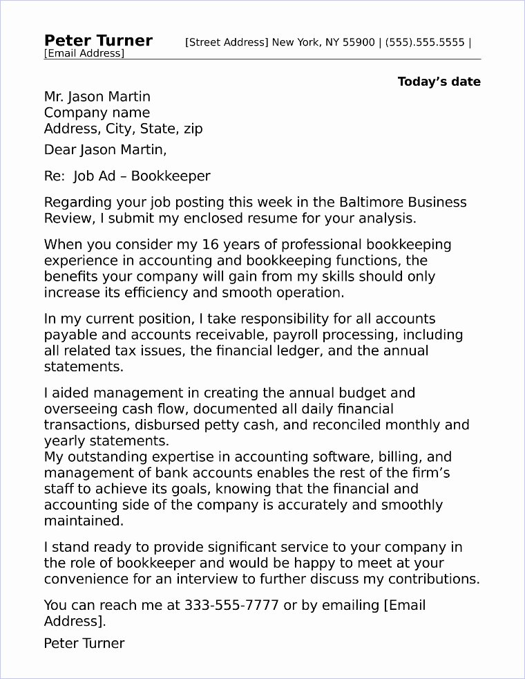 Accounting Covering Letter Sample New Bookkeeper Cover Letter Sample