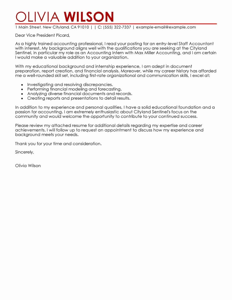 Accounting Job Cover Letter Best Of Best Staff Accountant Cover Letter Examples