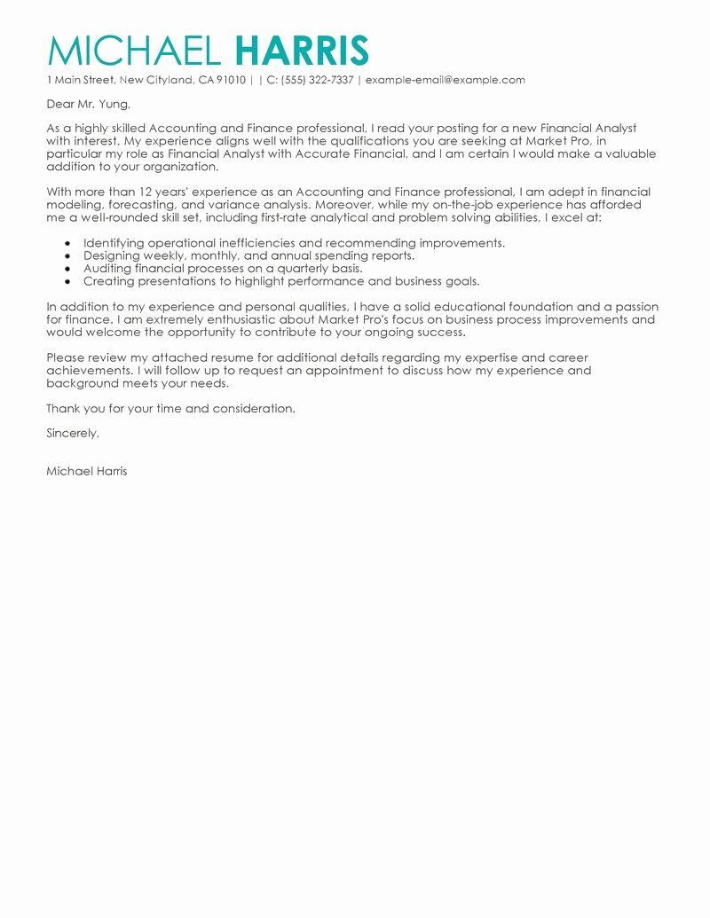 Accounting Job Cover Letter Elegant Best Accounting & Finance Cover Letter Examples