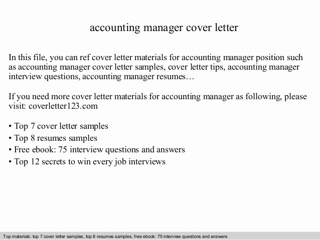 Accounting Job Cover Letter Fresh Accounting Manager Cover Letter
