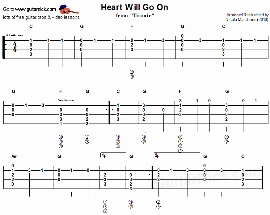 Acoustic Guitar Notes Chart Lovely Heart Will Go From Titanic Easy Acoustic Guitar Tab