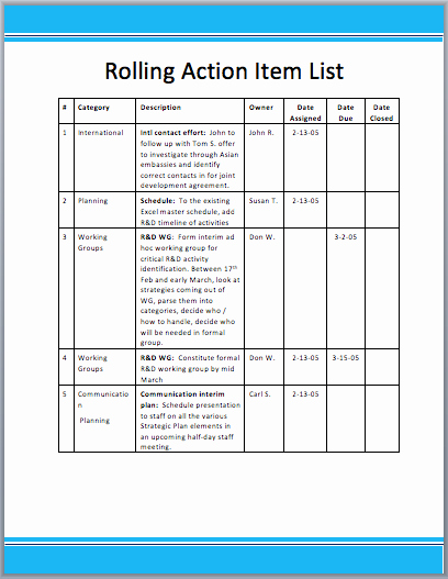 Action Item Template Word Fresh Rolling Action Item List Template Word Templates