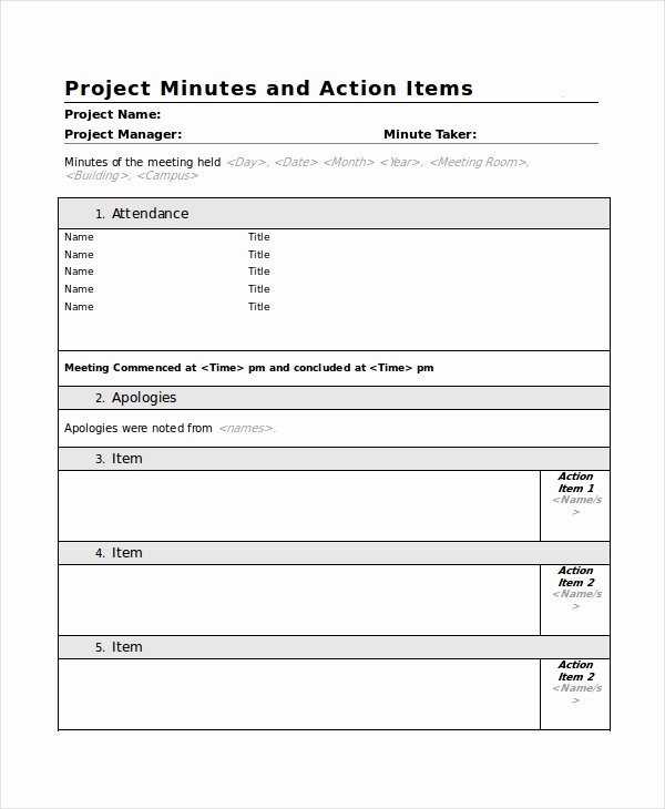 Action Item Template Word Inspirational Meeting Minutes Template 13 Free Word Pdf Document