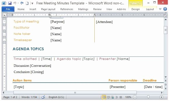 Action Item Template Word Luxury Free Meeting Minutes Template for Word