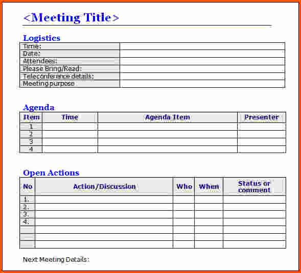 Action Item Template Word New 7 Meeting Minutes Template Word