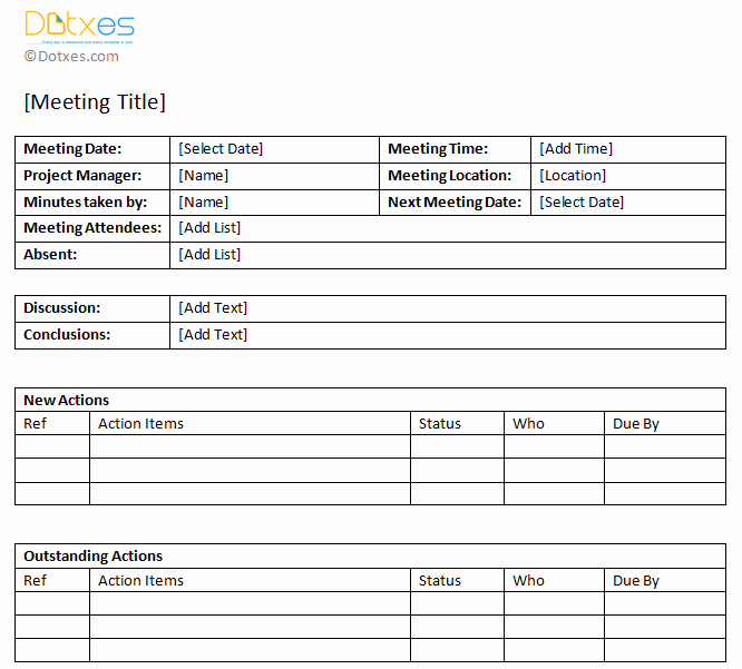 Action Item Template Word New Minutes Of Meeting Sample with Action Item List Dotxes