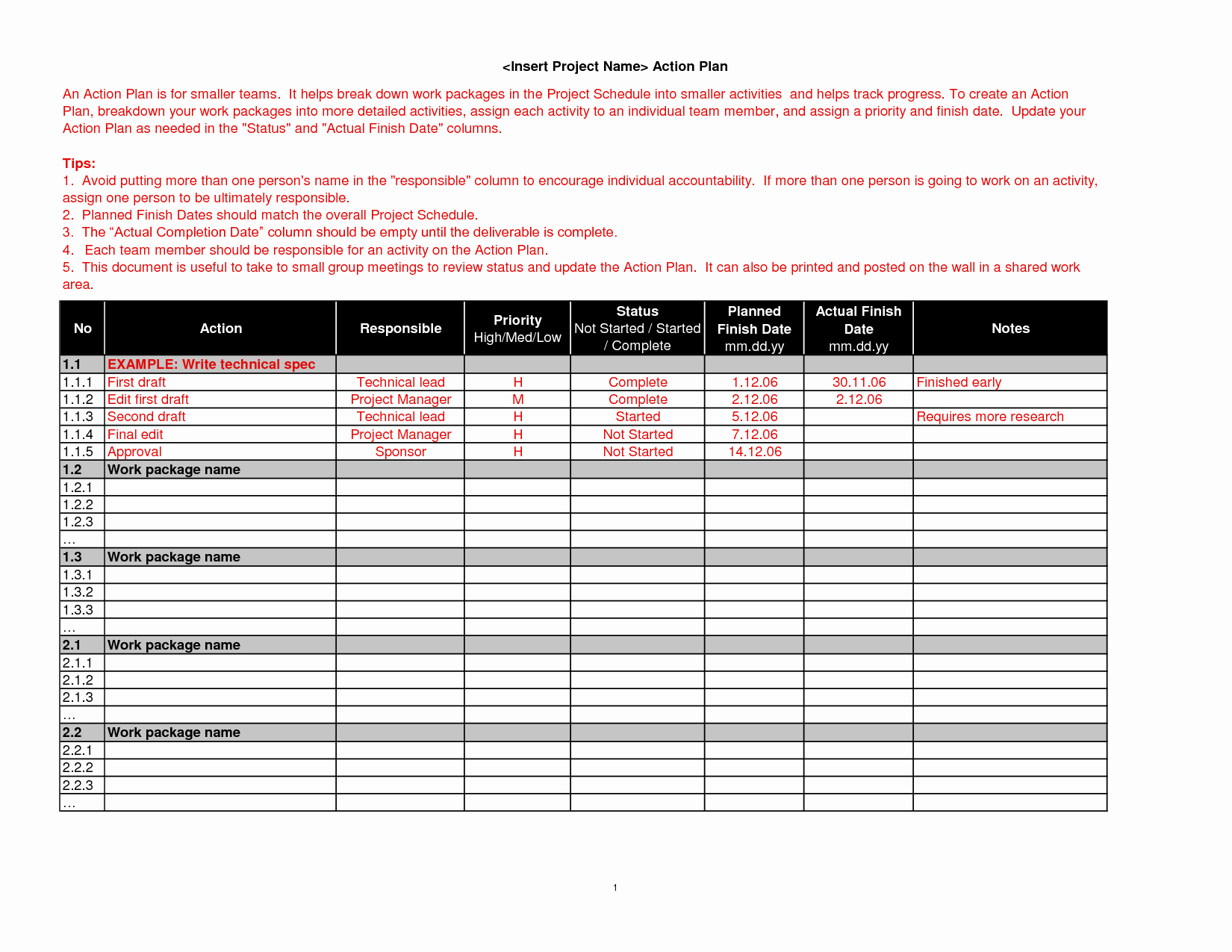 Action Plan Template for Managers Luxury Brilliant Action Plan Template Example for Business