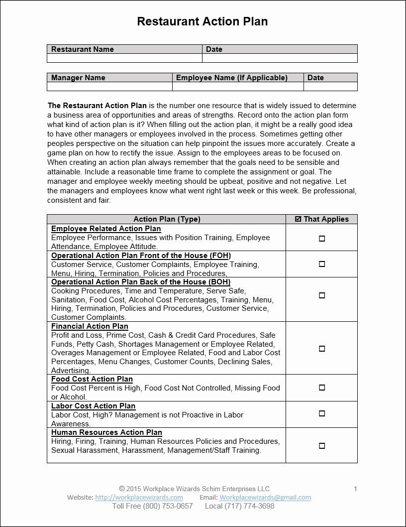 Action Plan Template for Managers New Restaurant Action Plan Workplace Wizards Restaurant