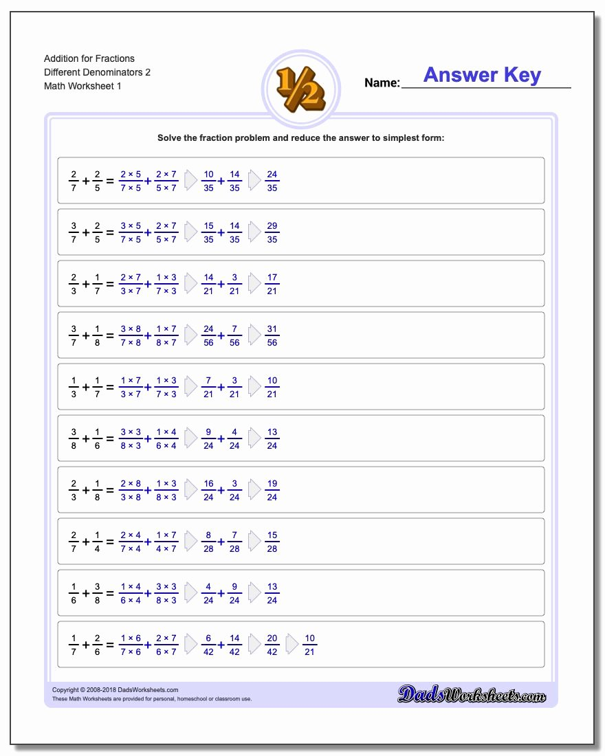Adding Fractions Worksheets Beautiful Adding Fractions with Unlike Denominators