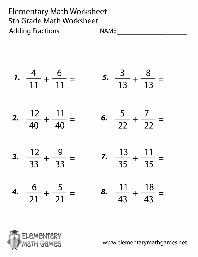 Adding Fractions Worksheets Best Of Fifth Grade Adding Fractions Worksheet