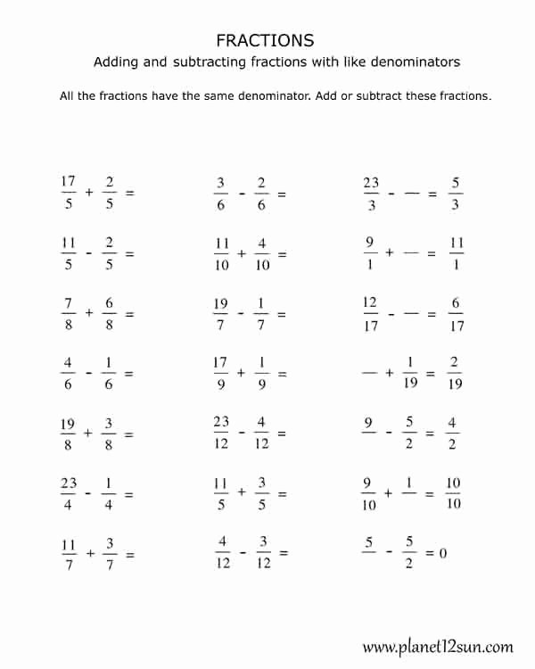 Adding Fractions Worksheets Inspirational 4th Grade Adding and Subtracting Fractions with the Same