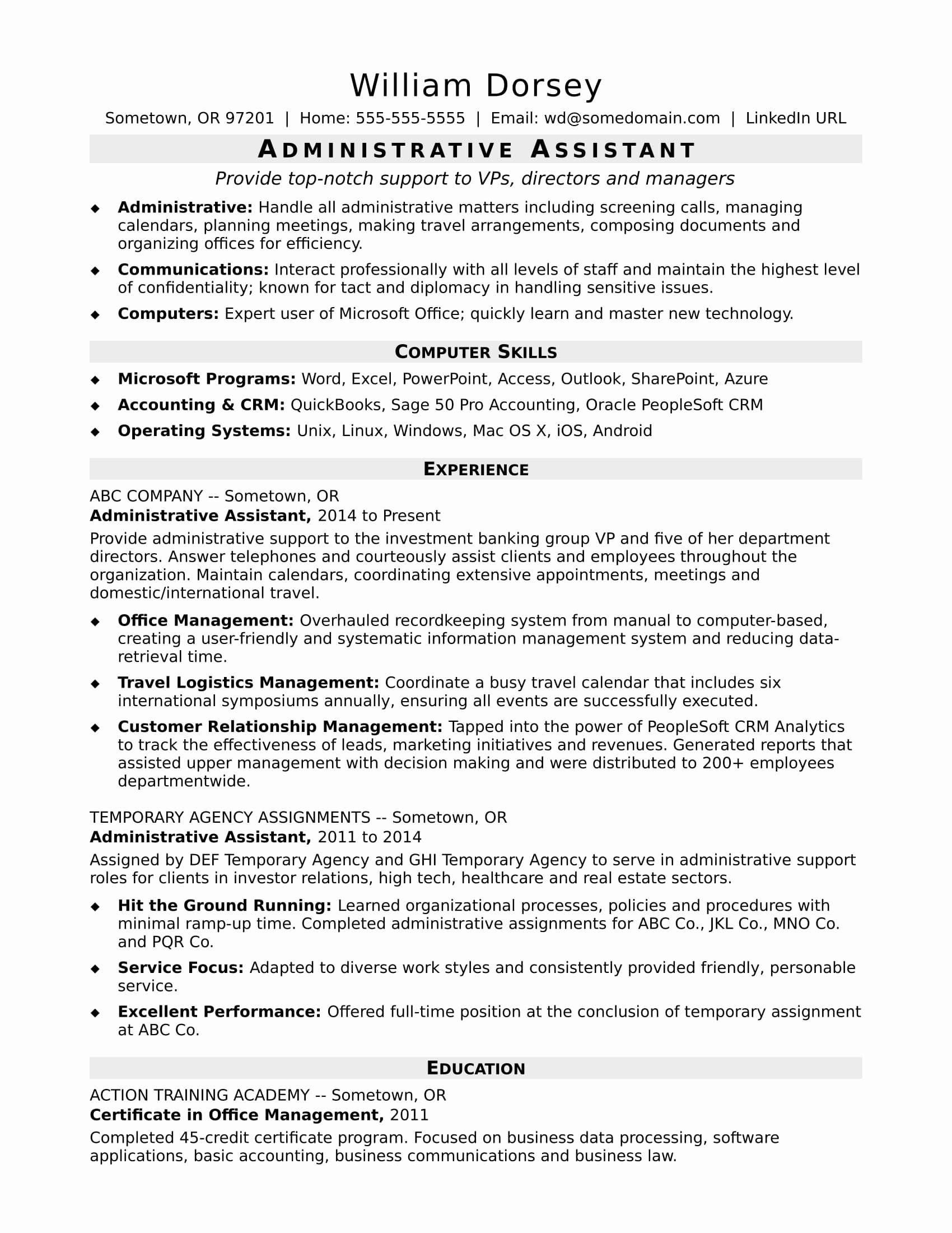 Administrative assistant Resume Objective Beautiful Midlevel Administrative assistant Resume Sample
