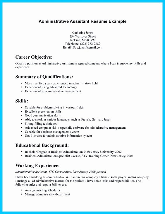 Administrative assistant Resume Objective Best Of Administrative assistant Resume Administrative assistant