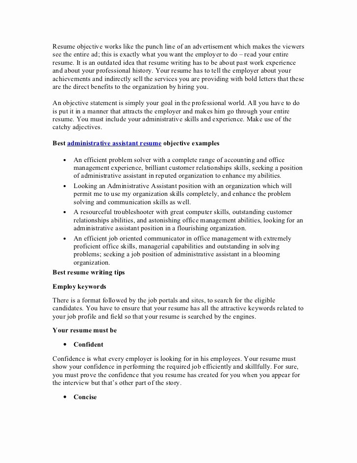 Administrative assistant Resume Objective Elegant Best Administrative assistant Resume Objective Article1