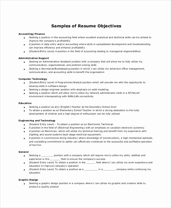 Administrative assistant Resume Objective Fresh Sample Resume Objective 6 Examples In Word Pdf