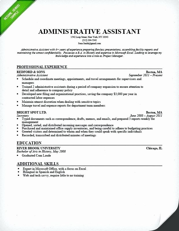Administrative assistant Resume Objective Lovely Good General Objective for Resume – Emelcotest