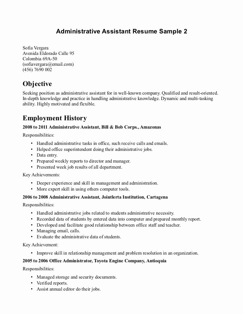 Administrative assistant Resume Objective Luxury Executive assistant Goals Administrative Performance