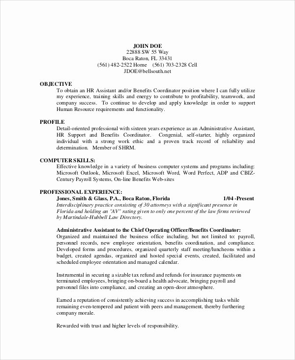 Administrative assistant Resume Objective Unique Sample Admin assistant Resume 11 Examples In Word Pdf