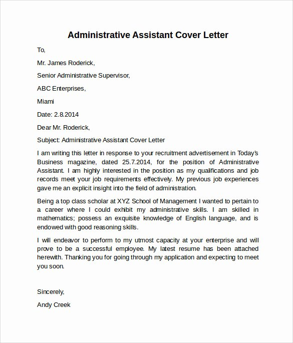 Administrative Support Cover Letter Awesome Administrative assistant Cover Letter 9 Free Samples