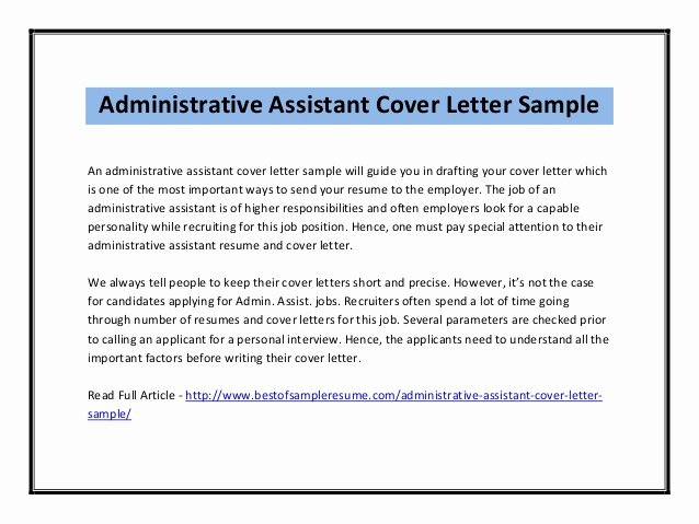 Administrative Support Cover Letter Fresh Cover Letter for Administrative assistant