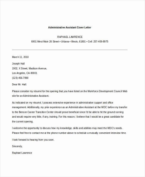 Administrative Support Cover Letter Lovely Sample Administrative assistant Cover Letter 7 Free
