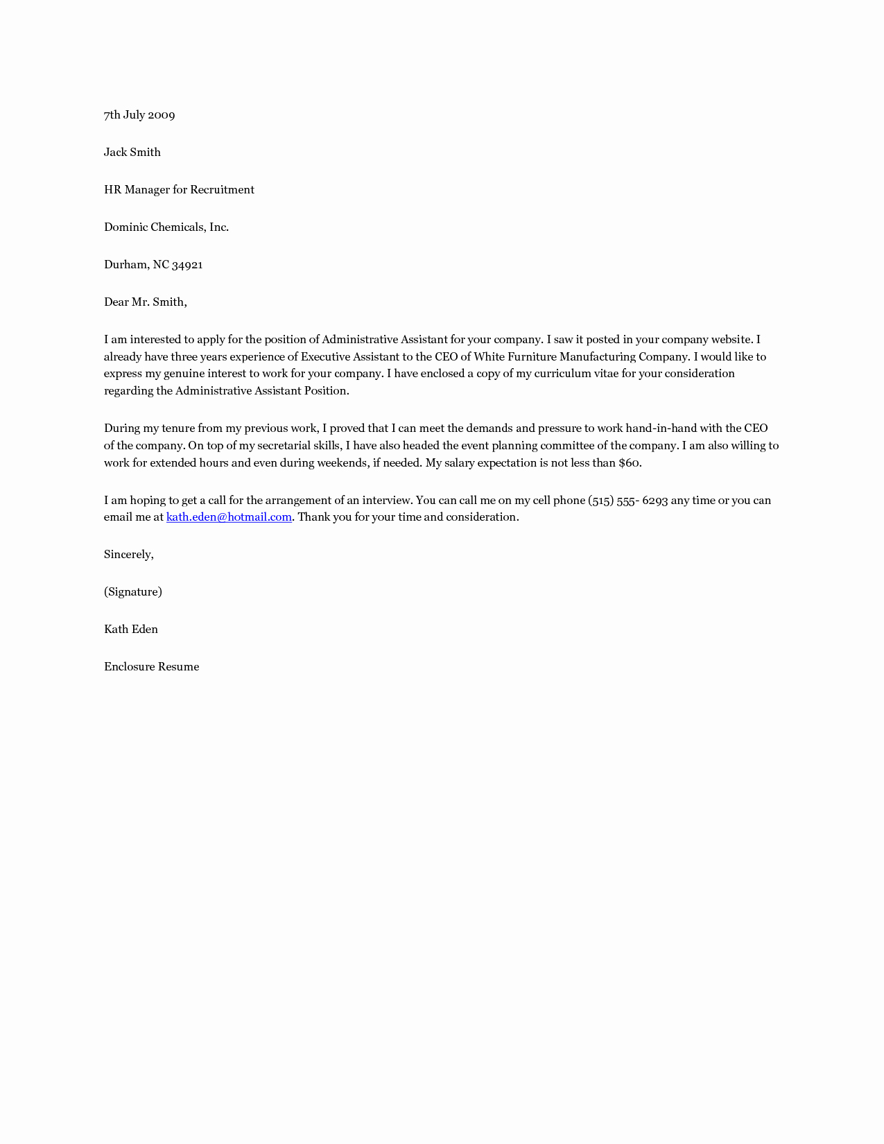 Administrative Support Cover Letter New the Best Cover Letter for Administrative assistant