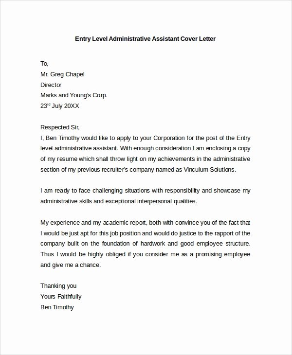 Administrative Support Cover Letter Unique Sample Cover Letter Example Template 29 Free Documents