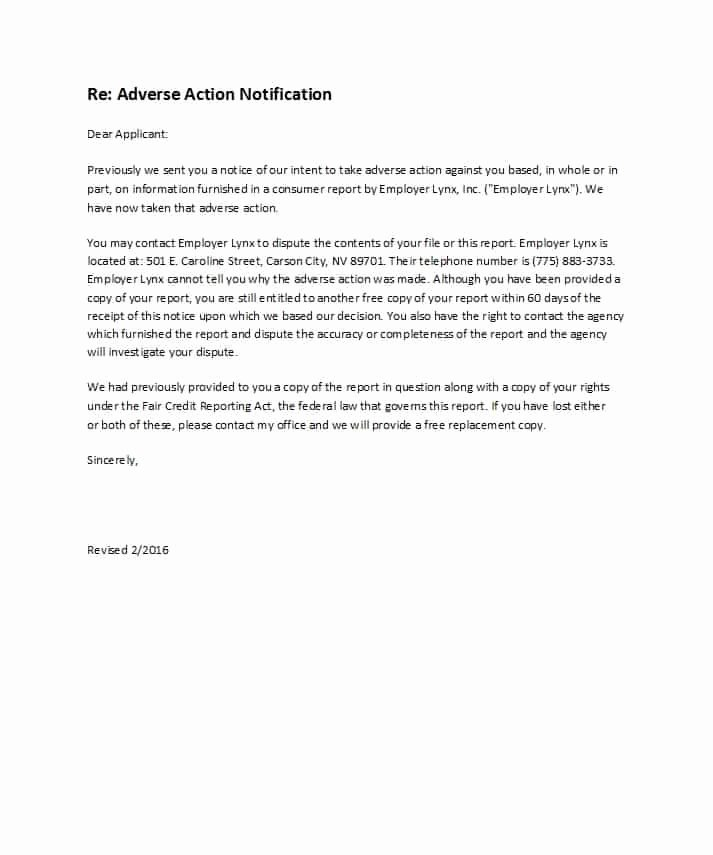 Adverse Action Letter Sample Awesome 50 Free Adverse Action Notices Adverse Action Letters