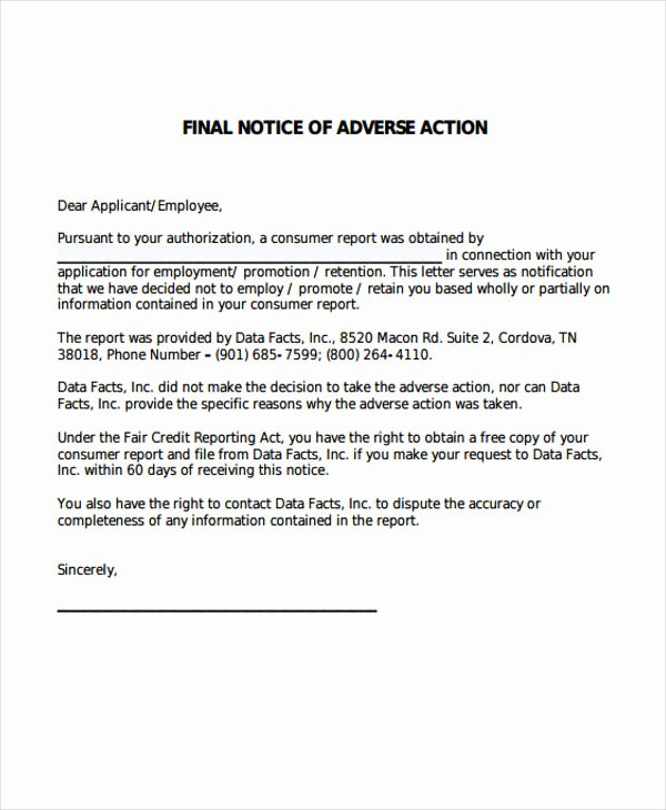 Adverse Action Letter Sample Inspirational 9 Adverse Action Notice Templates Free Sample Example