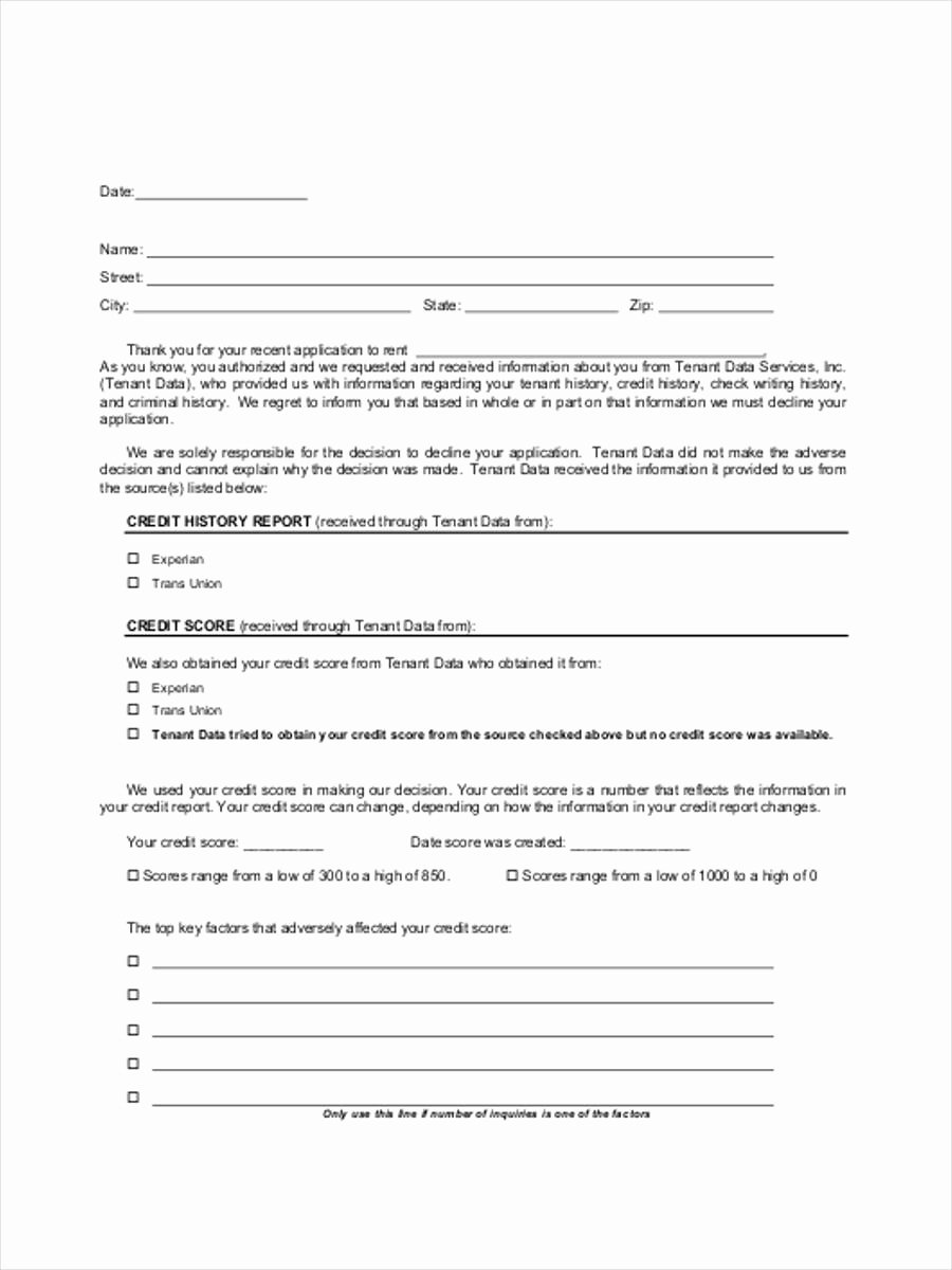 Adverse Action Letter Sample Luxury 6 Adverse Action forms Free Sample Example format